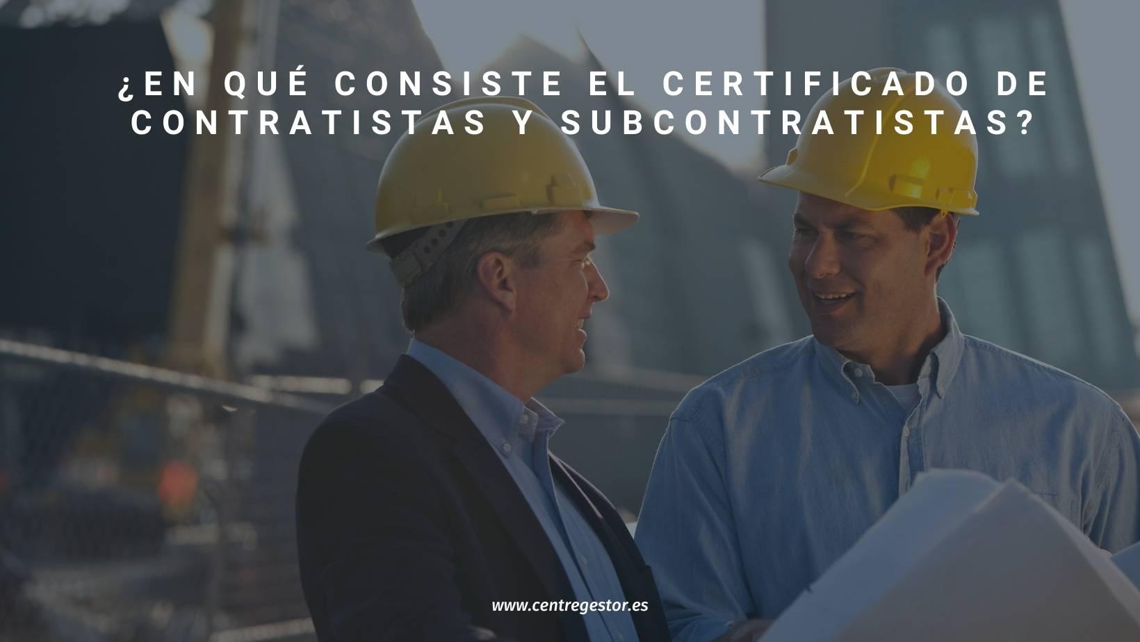 certificado de contratistas y subcontratistas - Centre Gestor